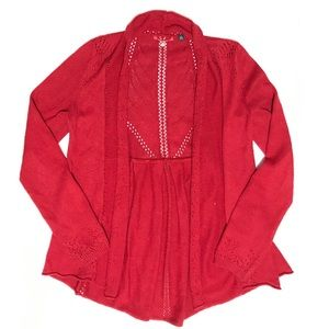 Anthropologie Red Knit Cashmere Cardigan Sweater
